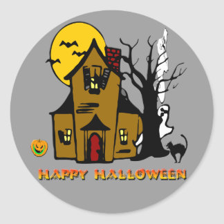 Haunted House Ghost Cat Classic Round Sticker