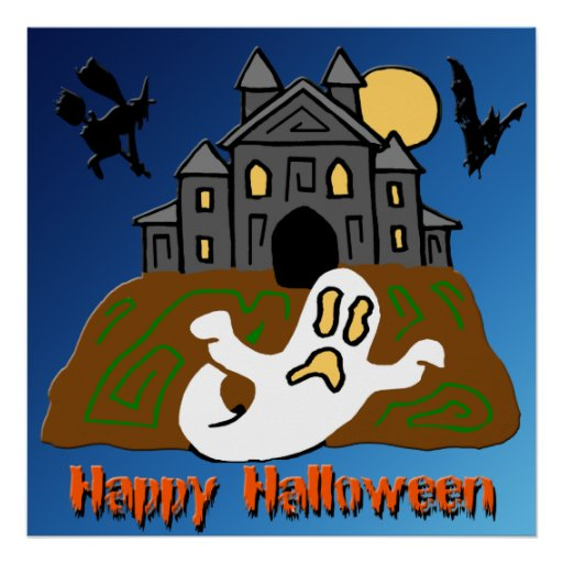 Haunted House Ghost Halloween Poster