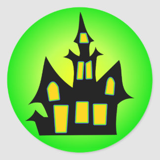 Haunted House Green Classic Round Sticker