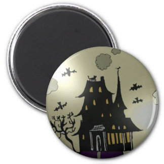 Haunted House Halloween 2 Inch Round Magnet