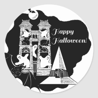 Haunted House Halloween Black and White Classic Round Sticker