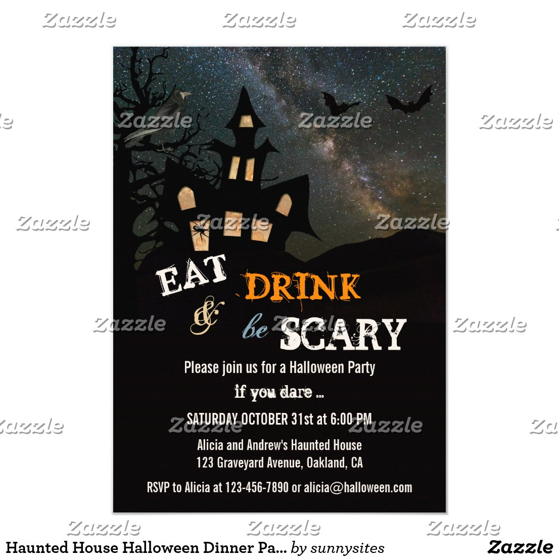 Haunted House Halloween Dinner Party Invitation