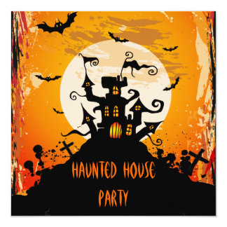 Haunted House Halloween Party 5.25x5.25 Square Paper Invitation Card