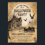 """Haunted House Halloween Party Invitation<br><div class=""""desc"""">Creepy vintage Halloween party invitation featuring a haunted house,  an undertaker&#39;s horse-drawn carriage,  and angry crows on an antique paper background. Please see my store for more scary products. Great for: gothic,  vintage,  steampunk,  antique,  Victorian,  Day of the Dead,  costume parties.</div>"""