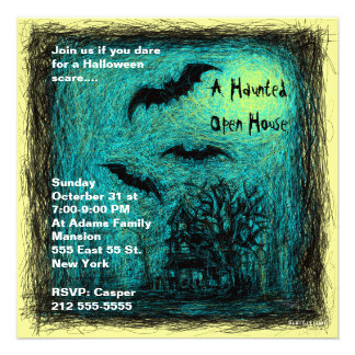 Haunted House Halloween Party Invitation Blue