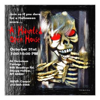 Haunted House Halloween Party Invitation Skeleton