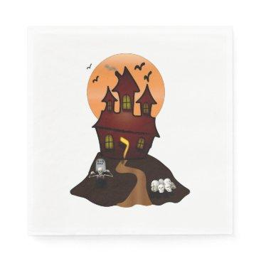 Beach Themed Haunted House Halloween Party Napkins