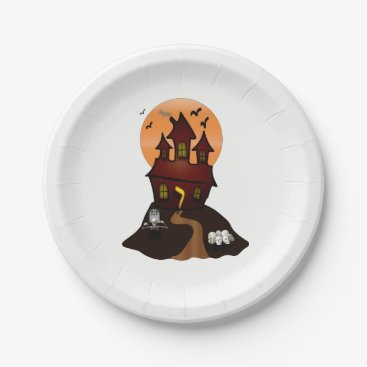 Beach Themed Haunted House Halloween Party Paper Plates