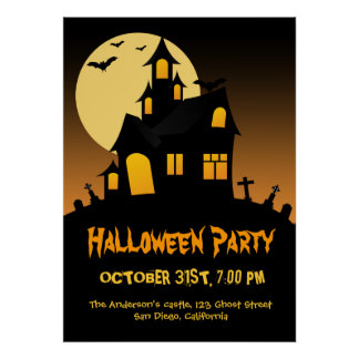 Haunted House Halloween Party Poster