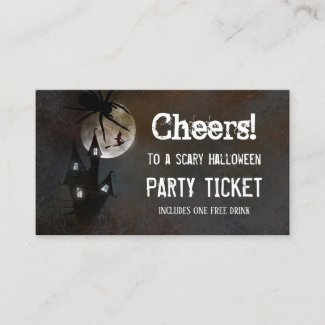 Haunted House Halloween Party Ticket Business Card