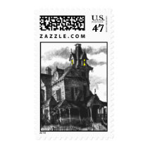 Haunted House Halloween Postage Stamp