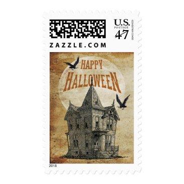 Halloween Themed Haunted House Halloween Postage Stamp II