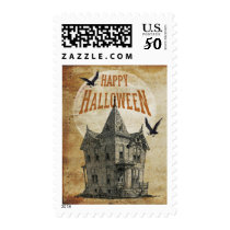 Haunted House Halloween Postage Stamp II