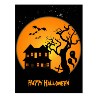Haunted House Halloween Postcard