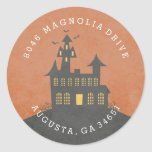 Haunted House Halloween Return Address Label Classic Round Sticker