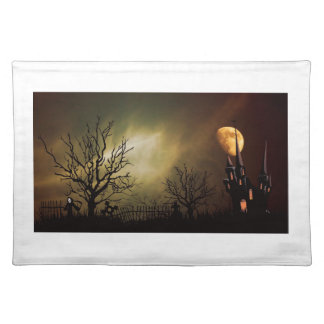 Haunted House Halloween Scene Cloth Placemat