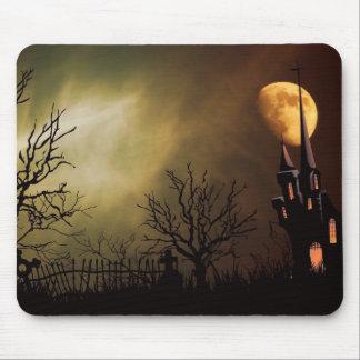 Haunted House Halloween Scene Mouse Pad