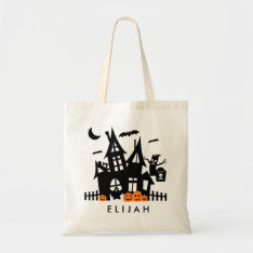 Haunted House Halloween Trick Or Treat Canvas Bag at Zazzle