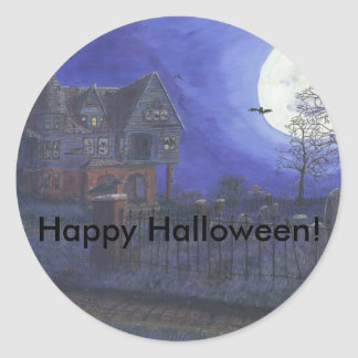Haunted House Happy Hallowee Classic Round Sticker