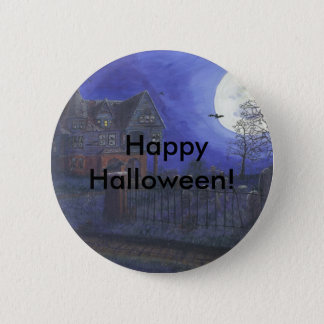Haunted House Happy Halloween Button