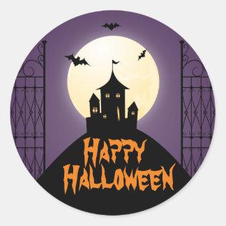 Haunted House Happy Halloween Classic Round Sticker