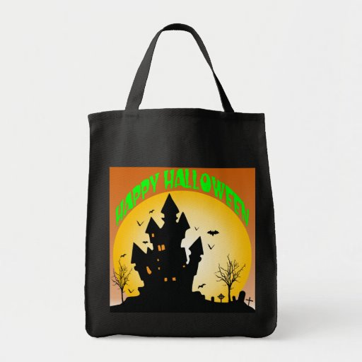 Haunted House Happy Halloween Grocery Tote Bag