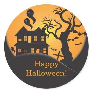 Haunted house Happy Halloween Sticker sticker