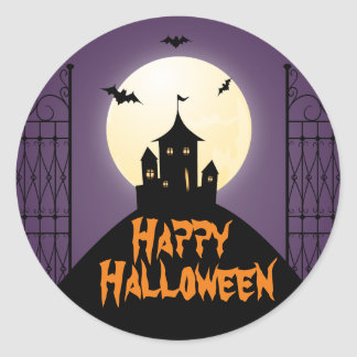 Haunted House Happy Halloween Classic Round Sticker