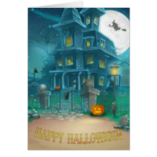 Haunted House Happy Halloween-witch, pumpkin, owl Card
