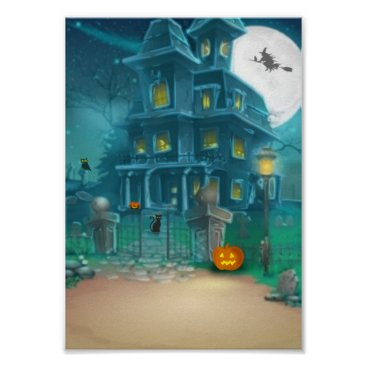 Halloween Themed Haunted House Happy Halloween-witch, pumpkin, owl Poster
