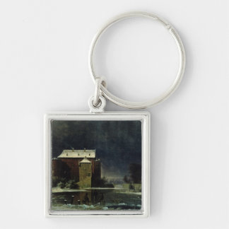 Haunted House in the Snow, 1848 Keychain