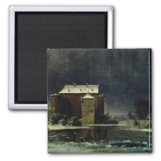 Haunted House in the Snow, 1848 Refrigerator Magnet