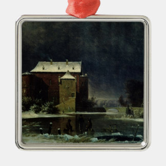 Haunted House in the Snow, 1848 Metal Ornament