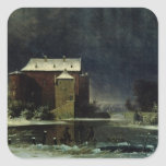 Haunted House in the Snow, 1848 Square Sticker