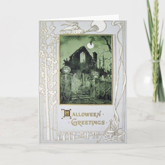 Haunted House Jack O' Lantern Ghost Bat Card