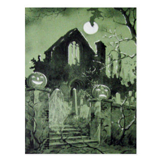 Haunted House Jack O' Lantern Ghost Bat Postcards