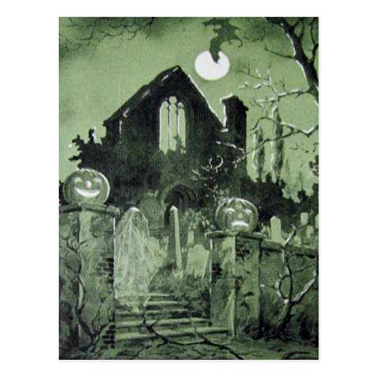 Haunted House Jack O' Lantern Ghost Bat Postcard