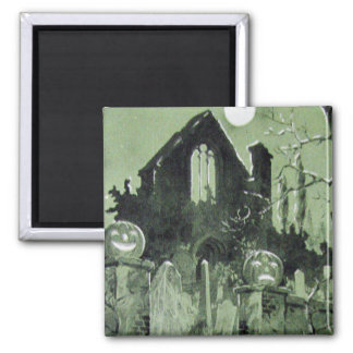 Haunted House Jack O' Lantern Ghost Moon 2 Inch Square Magnet