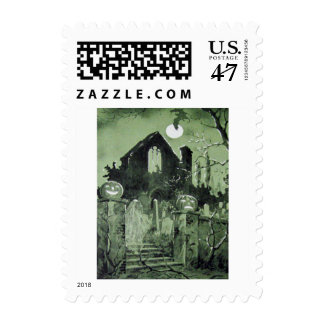 Haunted House Jack O' Lantern Ghost Moon Postage