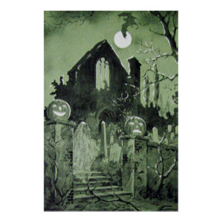 Haunted House Jack O' Lantern Ghost Moon Poster