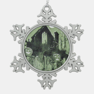 Haunted House Jack O' Lantern Ghost Moon Snowflake Pewter Christmas Ornament