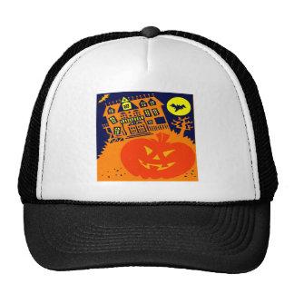 Haunted House Jack o lantern Trucker Hats
