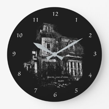 Halloween Themed Haunted House Large Clock