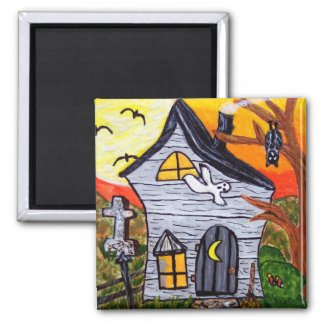 Haunted House Magnet magnet