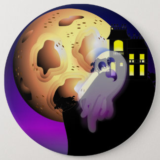 Haunted House, Moon and Ghost Pinback Button