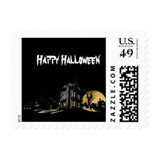 Haunted House on a Hill Halloween Postage