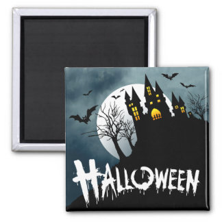Haunted House on a Hill Spooktacular Halloween 2 Inch Square Magnet