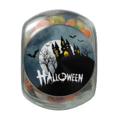 Haunted House on a Hill Spooktacular Halloween Jelly Belly Candy Jar at Zazzle