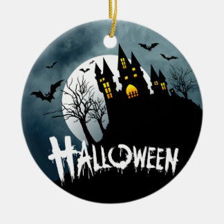 Haunted House on a Hill Spooktacular Halloween Ceramic Ornament