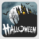 Haunted House on a Hill Spooktacular Halloween Square Sticker